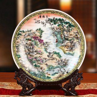 Jingdezhen ceramics powder enamel best crane figure faceplate hang dish of Chinese style household decoration decoration decoration plate