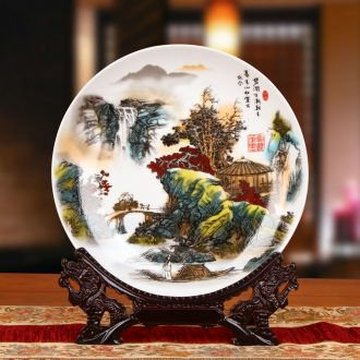 Jingdezhen ceramics pastel landscapes by hang dish plate faceplate Chinese style household decorative furnishing articles