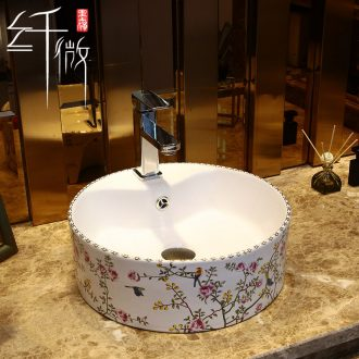 Spillway hole on the ceramic bowl, square, European art basin sink basin bathroom sinks home to wash your hands