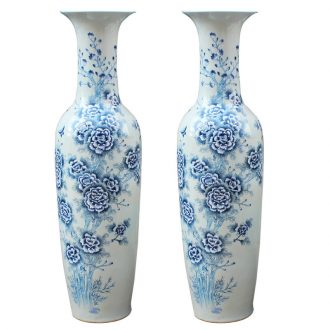 Jingdezhen blue and white peony sitting room of large vase household ceramics hand - made craft decoration decorative furnishing articles