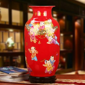 Jingdezhen ceramics Chinese style wedding decorative furnishing articles set of classical Chinese red lad idea gourd landing a large vase