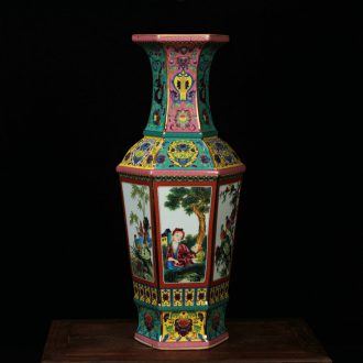 Jingdezhen ceramics, vases, antique green red hoard of enamel glaze Atlantic had six bottles of arts and crafts
