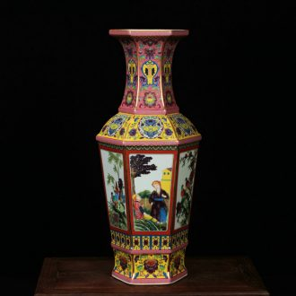 Classical jingdezhen ceramics vase archaize colored enamel had the six - party vase rich ancient frame decorative furnishing articles