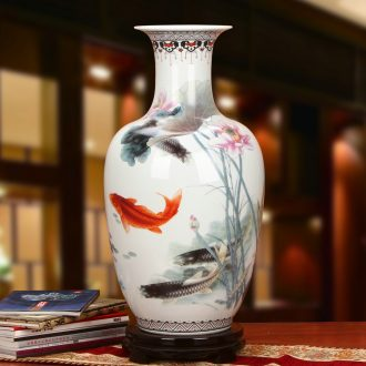 Jingdezhen ceramics powder enamel lotus lotus seeds fall to the ground fish large vases, modern Chinese style household geomantic furnishing articles
