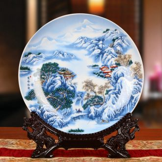 Jingdezhen ceramics powder enamel snow faceplate hang dish of rural household decoration decoration decoration plate