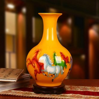 Jingdezhen ceramics gold straw yellow five jun figure horse furnishing articles decoration vase Chinese study arts and crafts