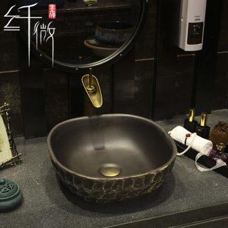 New Chinese style imitation stone art ceramic toilet stage basin square basin sink basin water basin washing a face