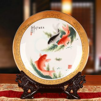 Jingdezhen chinaware paint fish by hang dish plate faceplate modern fashionable sitting room decoration home furnishing articles