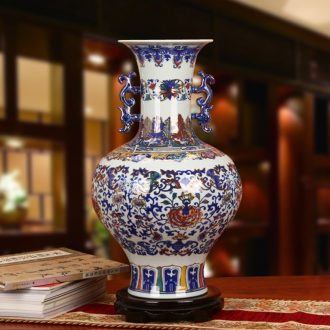 The see colour blue and white porcelain of jingdezhen ceramics high - grade hand - made ears around flower vases, Chinese style household furnishing articles