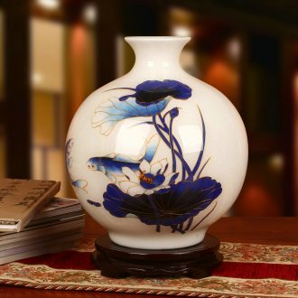 Jingdezhen ceramics vase high - grade Chinese fish straw lotus vase fashion home decoration decoration furnishing articles