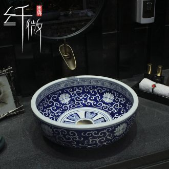 Hand on the blue and white porcelain basin to jingdezhen ceramic lavatory basin hotel Chinese art circle in the sink