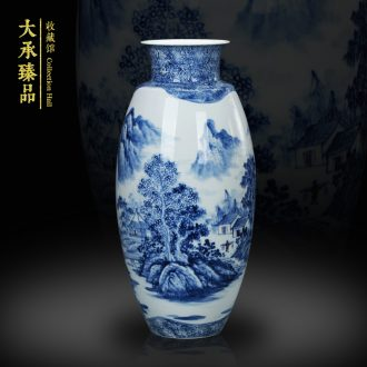 Jingdezhen ceramics vase blue and white landscape vase collection of modern Chinese style household handicraft carving