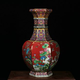 Jingdezhen ceramics vase archaize colored enamel HongLiu party with four bottles of modern Chinese style household furnishing articles