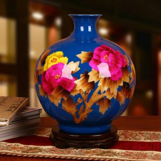 Jingdezhen ceramics vase high - grade straw blue riches and honor peony vases, modern Chinese style household furnishing articles