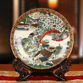 Jingdezhen ceramics powder enamel qingming scroll plates on faceplate hang dish classical household decorative crafts