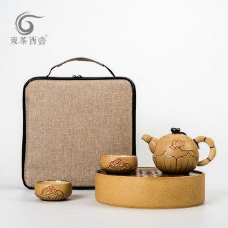 East west pot of tea cloth portable ceramic tea set fine gold ceramic round travel a pot of tea tray 2 cups of tea