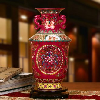 Jingdezhen ceramics high - grade crystal glaze rosy ears around branch lotus bottles of modern Chinese style furnishing articles decoration