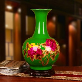 Jingdezhen ceramics green straw peony flowers vase of riches and modern Chinese style household decorative furnishing articles