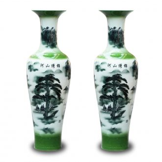 Jingdezhen ceramics hand - made color ink engraving splendid sunvo large vases, Chinese style sitting room adornment is placed
