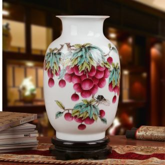 Famous Xia Guoan high - grade gift porcelain vase hand - made works of jingdezhen ceramics powder enamel litchi east gourd bottle