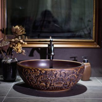 Jingdezhen ceramic lavatory toilet coconut trees stage basin restoring ancient ways round the sink water basin of Chinese style basin that wash a face