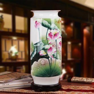 Famous hu, jingdezhen ceramics vase upscale gift hand famille rose porcelain lotus rhyme quiver vase