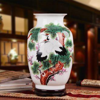 Famous hu, jingdezhen ceramics vase upscale gift porcelain hand - made pastel pine crane with spring east gourd bottle