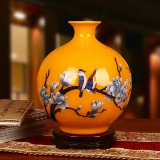 Jingdezhen ceramics in yellow gold straw yellow flower vase Chinese style decoration decoration furnishing articles process