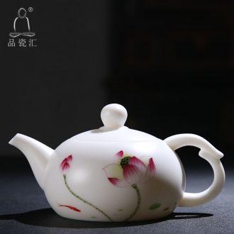 Dehua white porcelain lotus jade built rhyme jade ceramic tea tea set single round pot pot of kung fu tea set