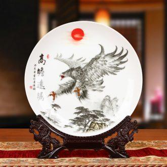 Jingdezhen ceramics eagle sat dish faceplate hang dish study Chinese office decoration as furnishing articles