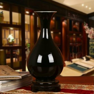 Color black sharply jingdezhen ceramics glaze vase contracted and I household decoration decoration decorative furnishing articles