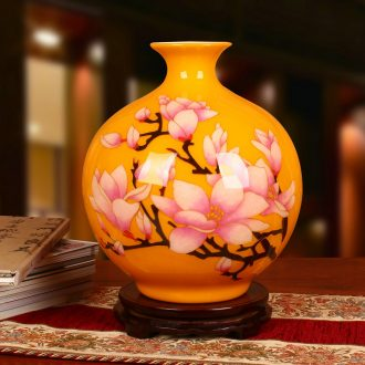 Jingdezhen ceramics vase high - grade gold straw yellow flowers open wealth vase modern household adornment furnishing articles