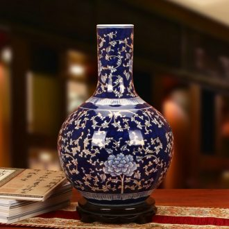 The see colour blue and white porcelain of jingdezhen ceramics high - grade hand - made peony vases, Chinese style household decorative furnishing articles