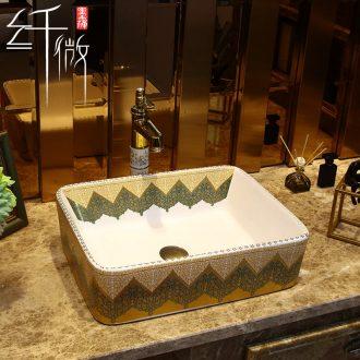 Household ceramics stage basin of European art basin sink basin bathroom sinks sink contracted square