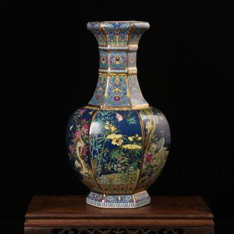 Jingdezhen ceramics vase archaize principal enamel pastel color six sides crafts decorative painting of flowers and collection