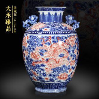 Jingdezhen ceramics Chinese antique blue and white youligong flower tenglong ear vase decoration handicraft furnishing articles