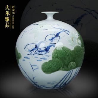 Shrimp boring LuYiGang hand - made porcelain of jingdezhen ceramics engraving lotus vase collection crafts are set