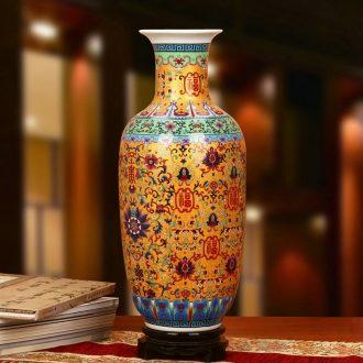 Antique Chinese jingdezhen ceramics enamel Mosaic gold live vases bottles of fashion home decoration crafts