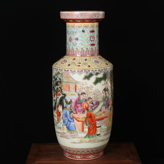 Archaize of jingdezhen ceramics powder enamel factory goods peach banquet big vases, modern Chinese style household crafts