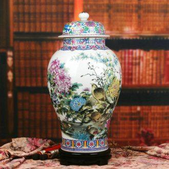 Chinese style classical jingdezhen ceramics powder enamel peace figure peony quail general pot of modern home furnishing articles