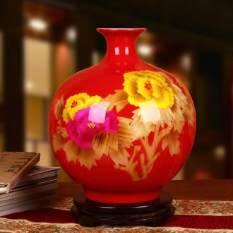 Jingdezhen ceramics vase Chinese red high - grade straw riches and honor peony vase wedding gifts new home furnishing articles