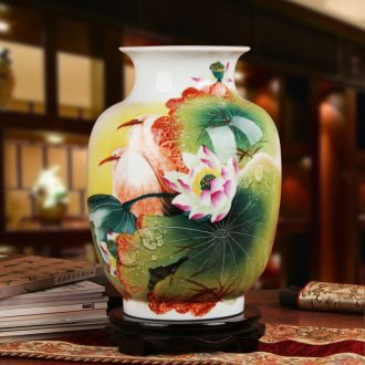 Famous hu, jingdezhen ceramics vase upscale gift hand famille rose porcelain lotus heron sentiment long vase