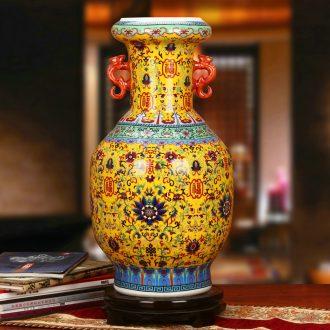 Jingdezhen ceramics classical Chinese ears porcelain enamel wanda vase home sitting room study adornment