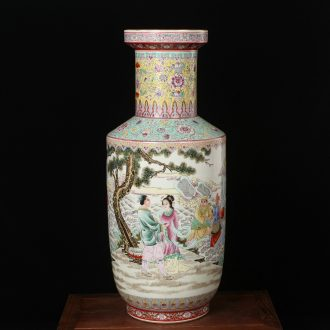 Jingdezhen ceramics hand - made powder enamel factory goods of large vases, modern classical Chinese style household crafts