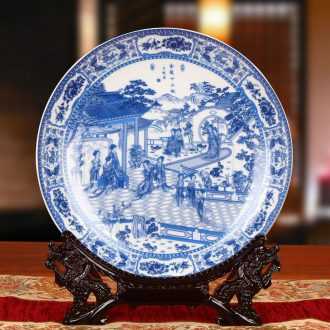 Twelve women of jingdezhen blue and white ceramics gold hair pin hang dish his Chinese style classical decoration home furnishing articles