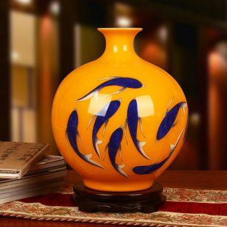 Jingdezhen ceramics gold straw with fish yellow vase study Chinese handicraft furnishing articles year after year