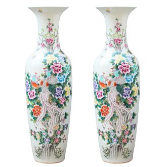 Jingdezhen ceramics hand - made pastel phoenix or sound of large vases, classical Chinese style living room home decoration