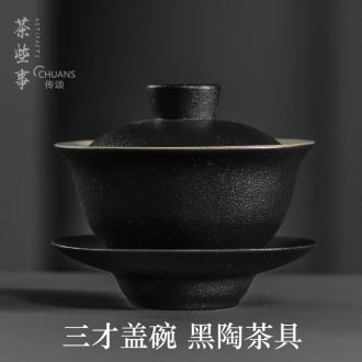 Famed coarse pottery bowl with only three tureen ceramic cups large black pottery tea tureen kung fu tea set household restoring ancient ways