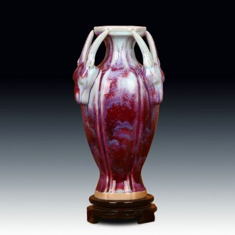 Jingdezhen ceramic vase archaize of jun porcelain up modern Chinese style decoration crafts are three Yang kaitai vase