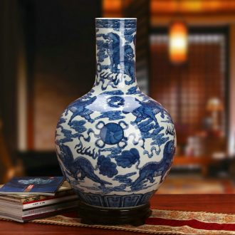 Jingdezhen ceramics high - grade hand - made kirin celestial sphere of blue and white porcelain vase Chinese style classical study furnishing articles